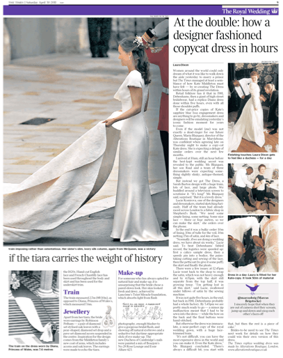 Times Article Royal wedding dress replication